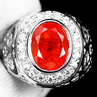 """Яркий перстень """"Апельсин"""" с оранжевым ибелыми сапфирами , размер 18,6 студия LadyStyle.Biz, фото 1"""