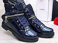 Ботинки женские, Зимние, лакированная кожа, цвет тёмно - синий