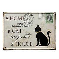 Черная кошка жестяная вывеска штамп винтажный паб декор стен День благодарения подарок