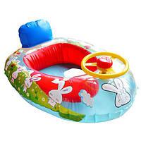 Колесо рог дети плавать кольцо поплавка сиденье ребенка надувной лодке плавательный бассейн тренер