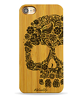 Деревянный чехол на Iphone 6 plus с лазерной гравировкой Череп с цветами