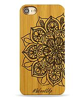 Деревянный чехол на Iphone 6 plus с лазерной гравировкой Мандала