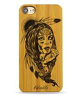 Деревянный чехол на Iphone 6 plus с лазерной гравировкой Индианка