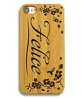 Деревянный чехол на Iphone 6 plus с лазерной гравировкой Felice