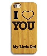 Деревянный чехол на Iphone 6 plus с лазерной гравировкой I Love You