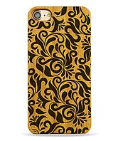 Деревянный чехол на Iphone 6 plus с лазерной гравировкой Узор-листья