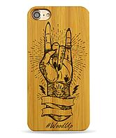 Деревянный чехол на Iphone 6 plus с лазерной гравировкой Рука