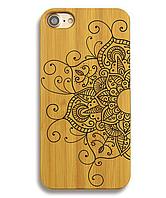 Деревянный чехол на Iphone 6 plus с лазерной гравировкой Мандала-2