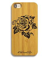 Деревянный чехол на Iphone 6 plus с лазерной гравировкой Роза-4