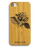 Деревянный чехол на Iphone 6 plus с лазерной гравировкой Роза-2
