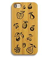 Деревянный чехол на Iphone 6 plus с лазерной гравировкой Фрукты