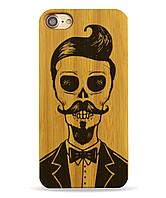 Деревянный чехол на Iphone 6 plus с лазерной гравировкой Скелет