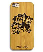 Деревянный чехол на Iphone 6 plus с лазерной гравировкой Роза-3