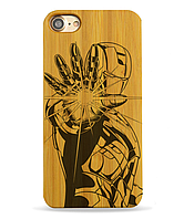 Деревянный чехол на Iphone 6 plus с лазерной гравировкой IronMan