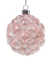 Елочный шар 8см с декором из бусин, состаренный розовый