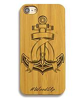 Деревянный чехол на Iphone 6 plus с лазерной гравировкой Якорь-3