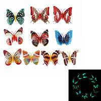 10 шт красочная 3D светящая бабочка с пин домашнего декора