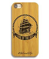 Деревянный чехол на Iphone 6 plus с лазерной гравировкой Корабль-1