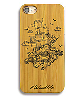 Деревянный чехол на Iphone 6 plus с лазерной гравировкой Корабль-2
