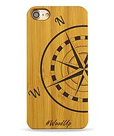 Деревянный чехол на Iphone 6 plus с лазерной гравировкой Компас-1