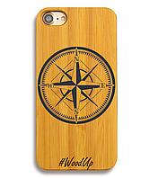Деревянный чехол на Iphone 6 plus с лазерной гравировкой Компас