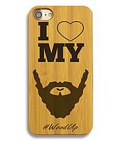 Деревянный чехол на Iphone 6 plus с лазерной гравировкой I Love My Beard