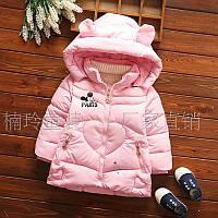 Зимняя теплая куртка нежно розового цвета для девочки  2,3,4,5,6 лет