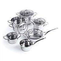 Набор посуды Tulip со стеклянными крышками, 12 пр.