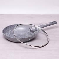Гранитная сковорода из литого алюминия с крышкой 24 см Kamille 4271GR