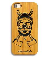 Деревянный чехол на Iphone 6 plus с лазерной гравировкой Skull with Tommahawks