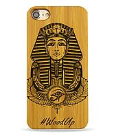 Деревянный чехол на Iphone 6 plus с лазерной гравировкой Фараон