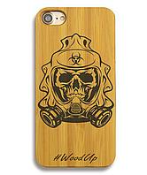 Деревянный чехол на Iphone 6 plus с лазерной гравировкой Skull in gas mask