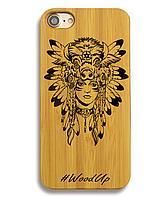 Деревянный чехол на Iphone 6 plus с лазерной гравировкой Indian Woman