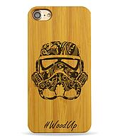 Деревянный чехол на Iphone 6 plus с лазерной гравировкой Helmet Star Wars