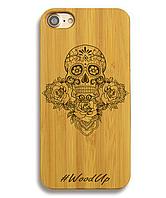 Деревянный чехол на Iphone 6 plus с лазерной гравировкой Череп ажур
