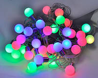 Уличная гирлянда лампочки 40 Led , 6.5 м разноцветная ( гирлянда шарики )