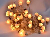 Уличная гирлянда шарики 40 Led , 6.5 м теплый белый ( гирлянда лампочки )