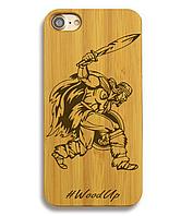 Деревянный чехол на Iphone 6 plus с лазерной гравировкой Викинг-2
