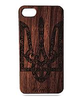 Деревянный чехол на Iphone 6 plus с лазерной гравировкой Герб Украины
