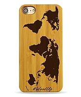 Деревянный чехол на Iphone 6 plus с лазерной гравировкой Карта