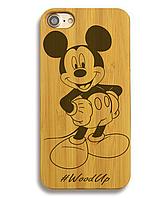 Деревянный чехол на Iphone 6 plus с лазерной гравировкой Mikky Mouse