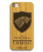 Деревянный чехол на Iphone 6 plus с лазерной гравировкой Winter is coming