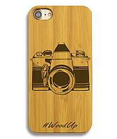 Деревянный чехол на Iphone 6 plus с лазерной гравировкой Фотоапарат