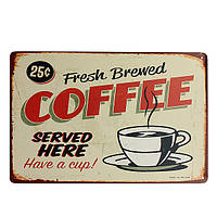 Кофе жестяная вывеска ретро старинные металлические бляшки бар паб кафе декора стен