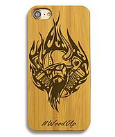 Деревянный чехол на Iphone 6 plus с лазерной гравировкой Biker
