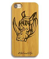 Деревянный чехол на Iphone 6 plus с лазерной гравировкой Носорог 4х4