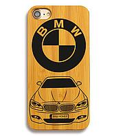 Деревянный чехол на Iphone 6 plus с лазерной гравировкой BMW