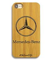 Деревянный чехол на Iphone 6 plus с лазерной гравировкой Mersedes-Benz