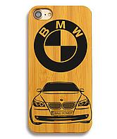 Деревянный чехол на Iphone 6 plus с лазерной гравировкой БМВ