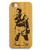 Деревянный чехол на Iphone 6 plus с лазерной гравировкой Mohamed Ali